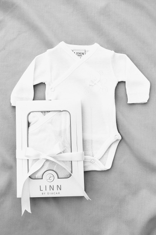 Little Teddy Newborn Long Sleeve Bodysuit in White