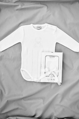 Little Teddy Long Sleeve Bodysuit in White
