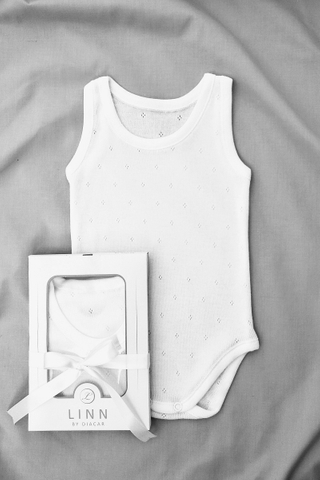 Diamond Eyelet Sleeveless Bodysuit in White